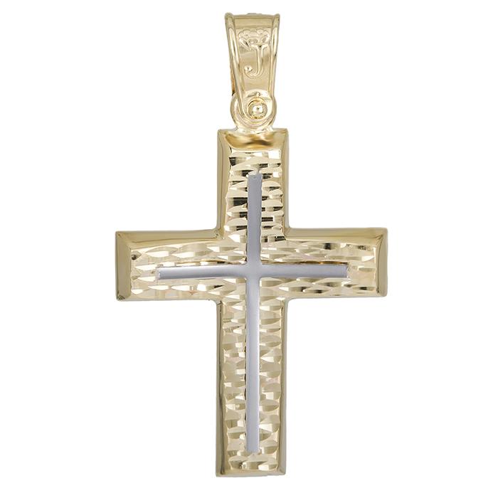 Σταυροί Βάπτισης - Αρραβώνα Χρυσός αντρικός σταυρός Κ14 χωρίς πέτρες 026175 026175 Ανδρικό Χρυσός 14 Καράτια