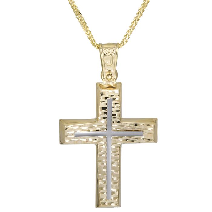 Βαπτιστικοί Σταυροί με Αλυσίδα Αντρικός χειροποίητος σταυρός Κ14 με αλυσίδα 026175C 026175C Ανδρικό Χρυσός 14 Καράτια