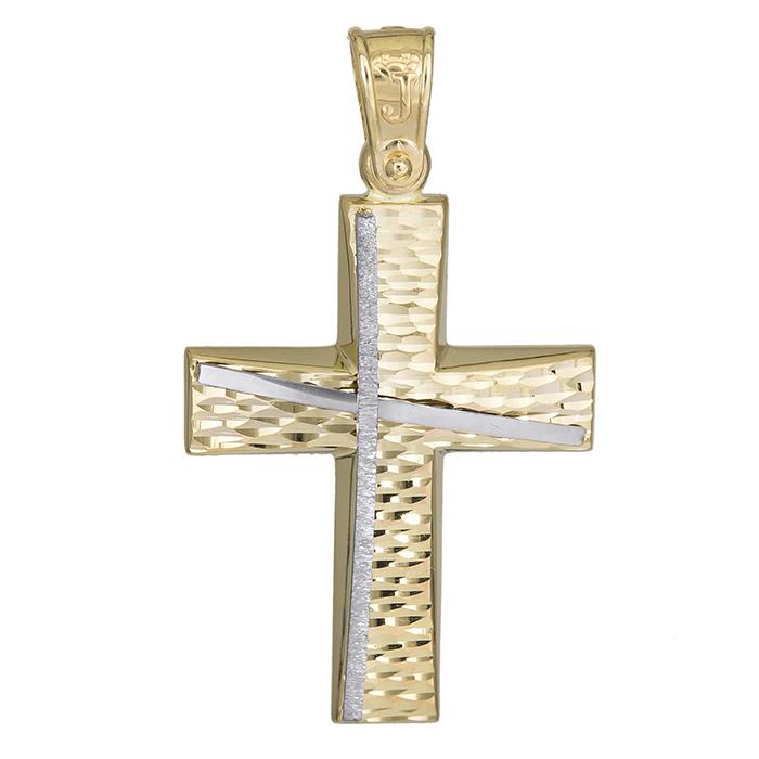 Σταυροί Βάπτισης - Αρραβώνα Χρυσός αντρικός σταυρός Κ14 βαπτιστικός 026176 026176 Ανδρικό Χρυσός 14 Καράτια