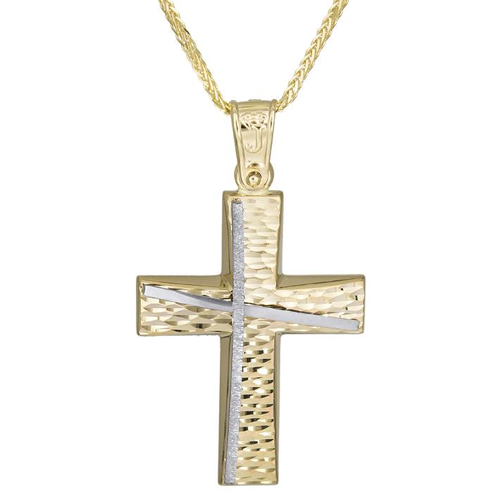 Βαπτιστικοί Σταυροί με Αλυσίδα Αντρικός χειροποίητος σταυρός Κ14 με αλυσίδα 026176C 026176C Ανδρικό Χρυσός 14 Καράτια