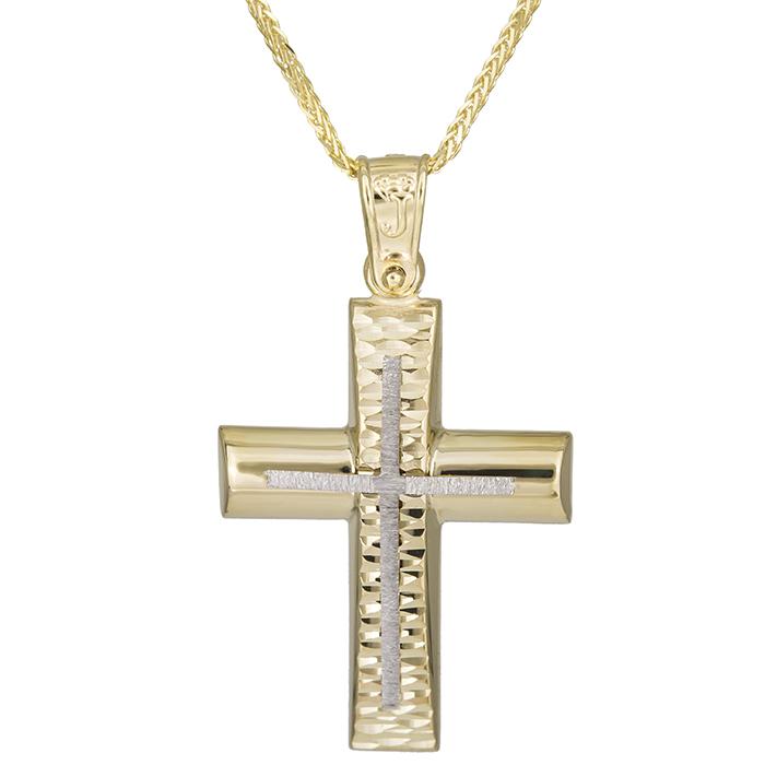 Βαπτιστικοί Σταυροί με Αλυσίδα Αντρικός χειροποίητος σταυρός Κ14 με αλυσίδα 026177C 026177C Ανδρικό Χρυσός 14 Καράτια