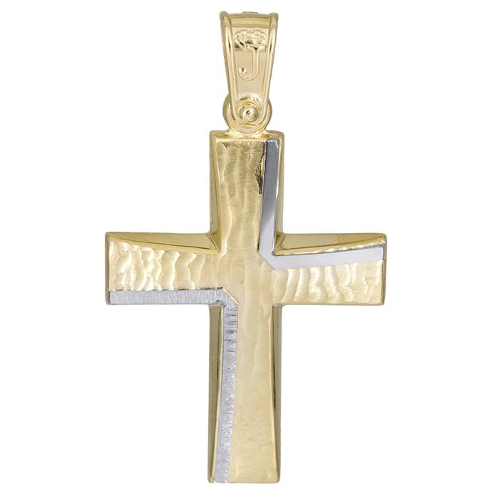 Σταυροί Βάπτισης - Αρραβώνα Χειροποίητος αντρικός σταυρός Κ14 με ανάγλυφο 026181 026181 Ανδρικό Χρυσός 14 Καράτια