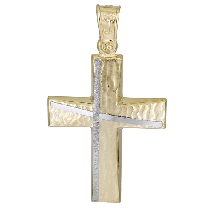 Σταυροί Βάπτισης - Αρραβώνα Χρυσός βαπτιστικός σταυρός Κ14 χωρίς πέτρες 026182 026182 Ανδρικό Χρυσός 14 Καράτια