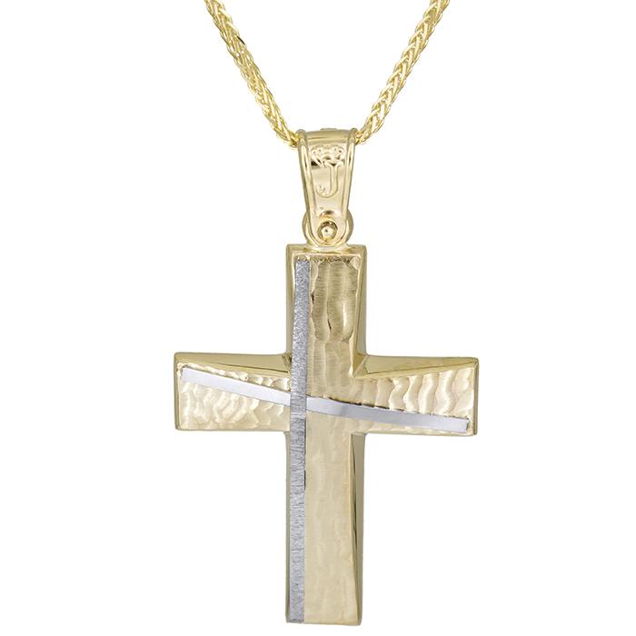 Βαπτιστικοί Σταυροί με Αλυσίδα Αντρικός χειροποίητος σταυρός Κ14 με αλυσίδα 026182C 026182C Ανδρικό Χρυσός 14 Καράτια