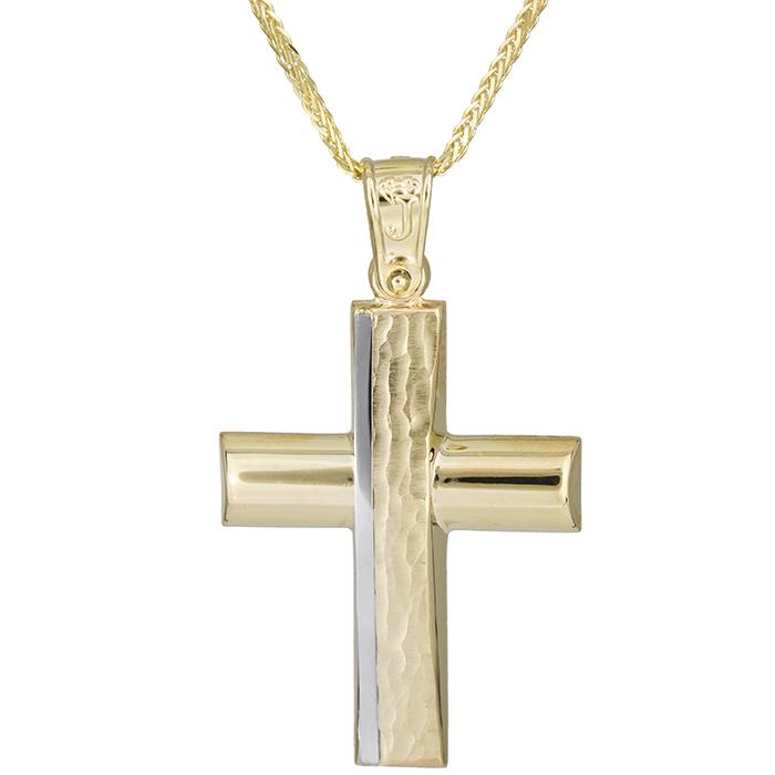 Βαπτιστικοί Σταυροί με Αλυσίδα Χρυσός χειροποίητος σταυρός Κ14 με αλυσίδα 026183C 026183C Ανδρικό Χρυσός 14 Καράτια