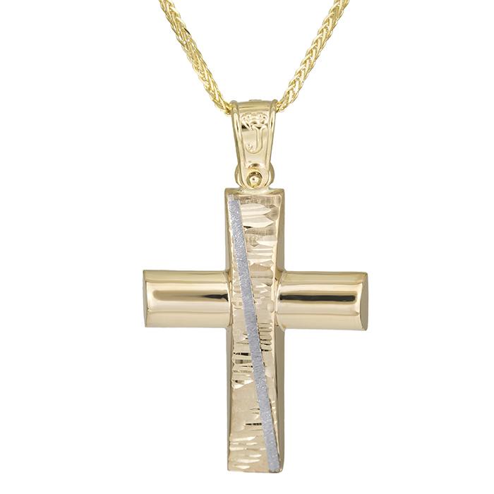 Βαπτιστικοί Σταυροί με Αλυσίδα Αντρικός χρυσός σταυρός Κ14 με αλυσίδα 026188C 026188C Ανδρικό Χρυσός 14 Καράτια