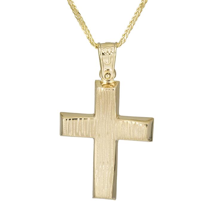 Βαπτιστικοί Σταυροί με Αλυσίδα Χρυσός σταυρός ανάγλυφο Κ14 με αλυσίδα 026189C 026189C Ανδρικό Χρυσός 14 Καράτια