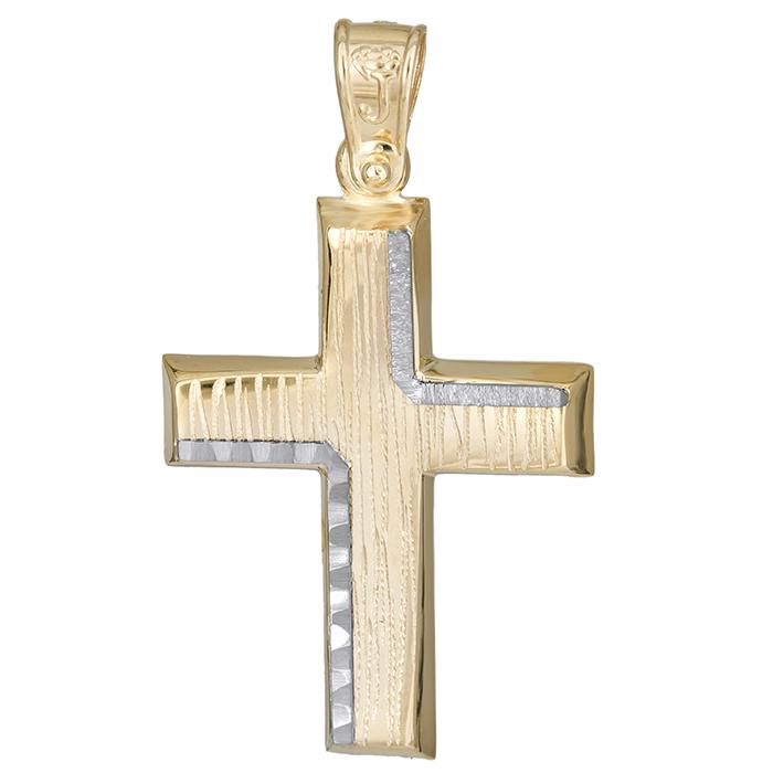 Σταυροί Βάπτισης - Αρραβώνα Χειροποίητος αντρικός σταυρός Κ14 με σχέδιο 026190 026190 Ανδρικό Χρυσός 14 Καράτια