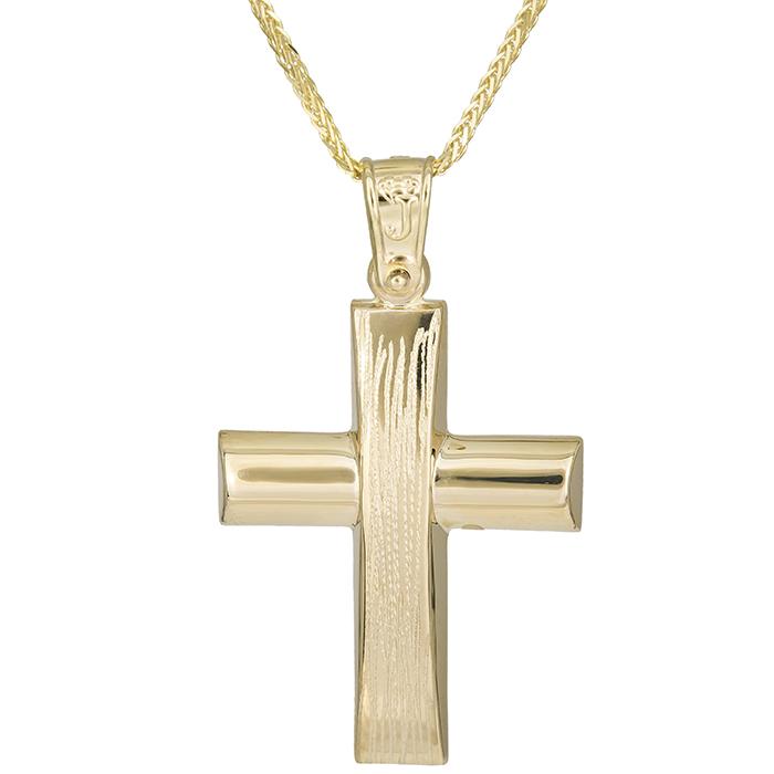Βαπτιστικοί Σταυροί με Αλυσίδα Χρυσός σταυρός ανάγλυφο Κ14 με αλυσίδα 026192C 026192C Ανδρικό Χρυσός 14 Καράτια
