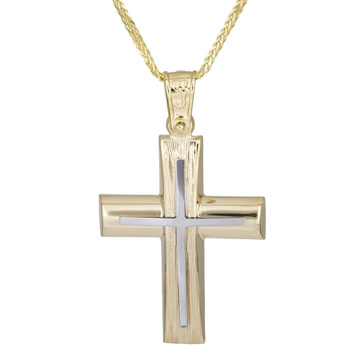 Βαπτιστικοί Σταυροί με Αλυσίδα Χρυσός σταυρός με σχέδιο Κ14 με αλυσίδα 026193C 026193C Ανδρικό Χρυσός 14 Καράτια