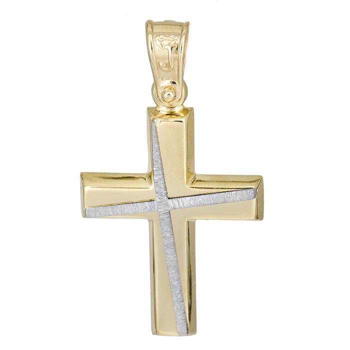 Σταυροί Βάπτισης - Αρραβώνα Χρυσός αντρικός σταυρός Κ14 με σχέδιο 026196 026196 Ανδρικό Χρυσός 14 Καράτια