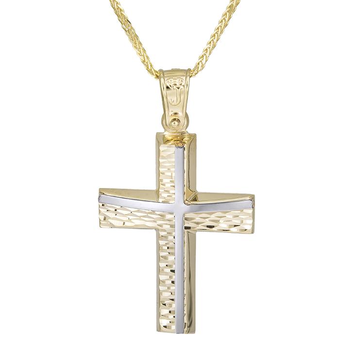 Βαπτιστικοί Σταυροί με Αλυσίδα Χρυσός σταυρός Κ14 σχέδιο & αλυσίδα 026198C 026198C Ανδρικό Χρυσός 14 Καράτια