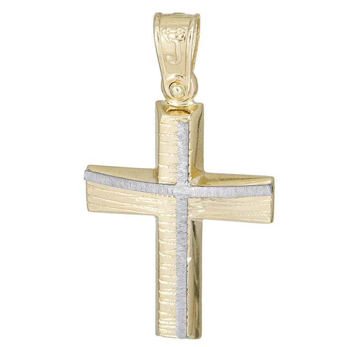 Σταυροί Βάπτισης - Αρραβώνα Αντρικός χρυσός σταυρός Κ14 με σχέδιο 026200 026200 Ανδρικό Χρυσός 14 Καράτια
