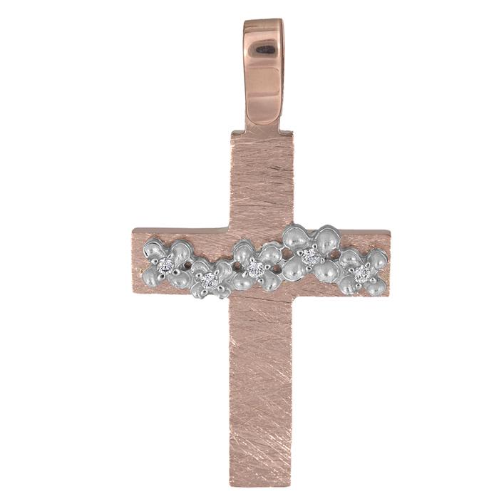 Σταυροί Βάπτισης - Αρραβώνα Γυναικείος σταυρός με λουλούδια Κ14 026207 026207 Γυναικείο Χρυσός 14 Καράτια