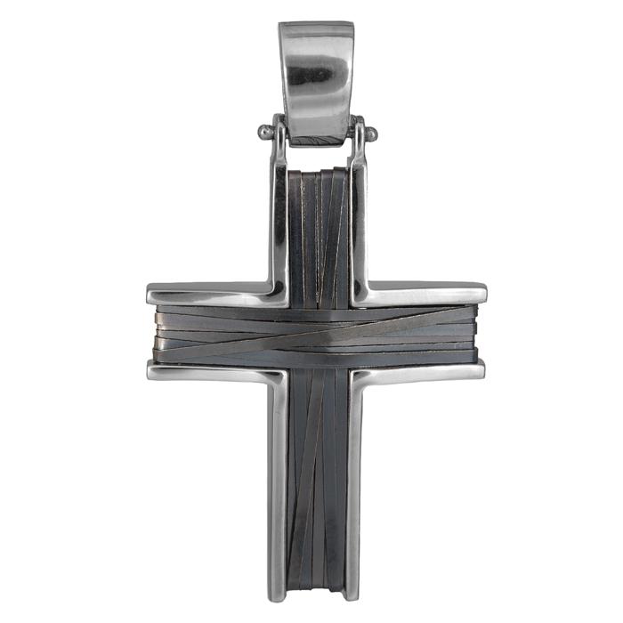 Σταυροί Βάπτισης - Αρραβώνα Λευκόχρυσος σταυρός με πλακέ μαύρο σύρμα Κ14 026214 026214 Ανδρικό Χρυσός 14 Καράτια