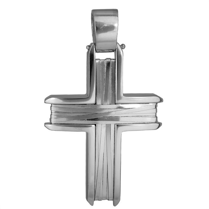 Σταυροί Βάπτισης - Αρραβώνα Ανδρικός σταυρός λευκόχρυσος Κ14 με πλακέ σύρμα 026215 026215 Ανδρικό Χρυσός 14 Καράτια