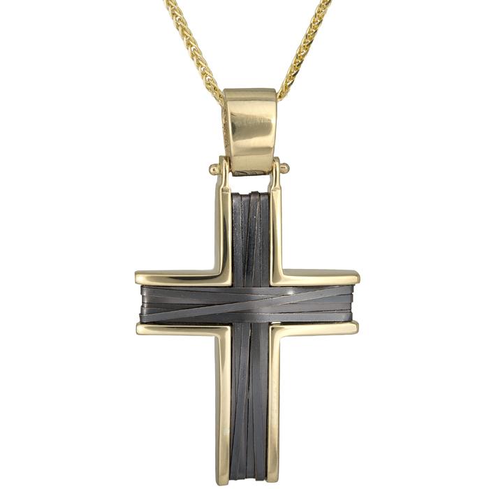 Βαπτιστικοί Σταυροί με Αλυσίδα Χειροποίητος σταυρός με πλακέ σύρμα Κ14 026216C 026216C Ανδρικό Χρυσός 14 Καράτια