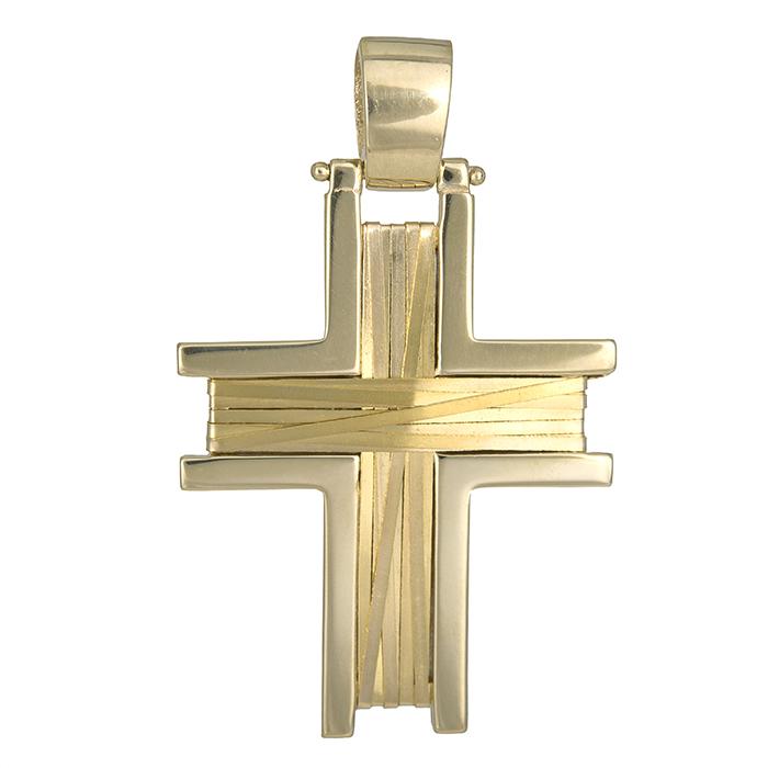 Σταυροί Βάπτισης - Αρραβώνα Χρυσός βαπτιστικός σταυρός Κ14 με σύρμα 026217 026217 Ανδρικό Χρυσός 14 Καράτια
