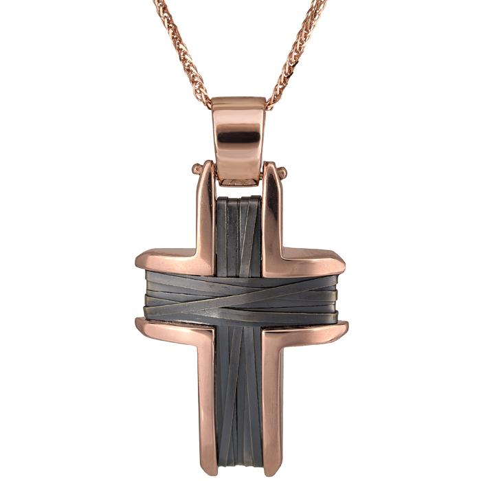 Βαπτιστικοί Σταυροί με Αλυσίδα Ροζ gold σταυρός Κ14 μαύρος με αλυσίδα 026218C 026218C Γυναικείο Χρυσός 14 Καράτια