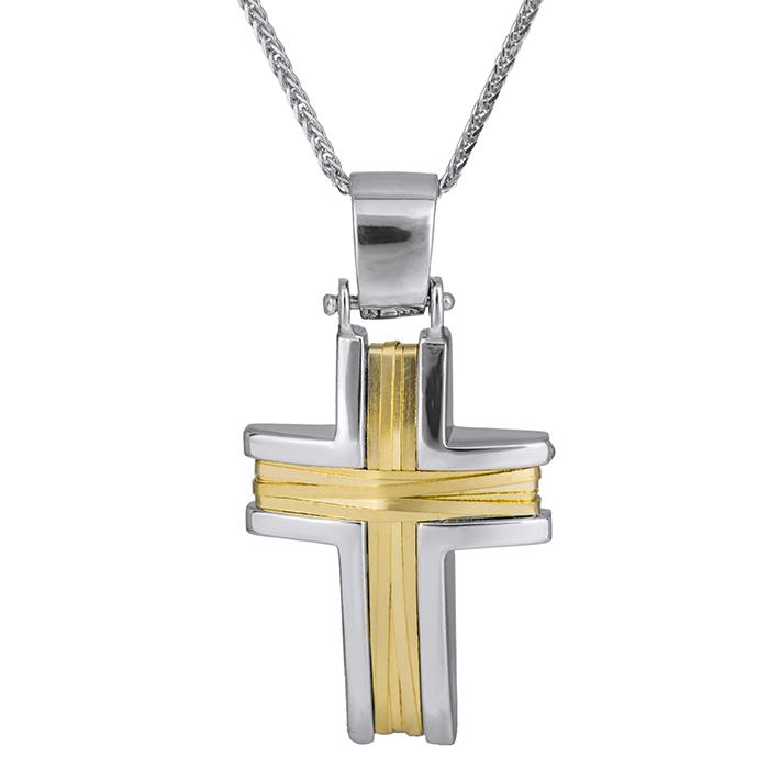 Βαπτιστικοί Σταυροί με Αλυσίδα Βαπτιστικός δίχρωμος σταυρός Κ14 με αλυσίδα 026219C 026219C Ανδρικό Χρυσός 14 Καράτια