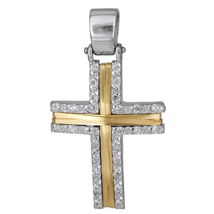 Σταυροί Βάπτισης - Αρραβώνα Γυναικείος σταυρός δίχρωμος Κ14 με πέτρες 026222 026222 Γυναικείο Χρυσός 14 Καράτια