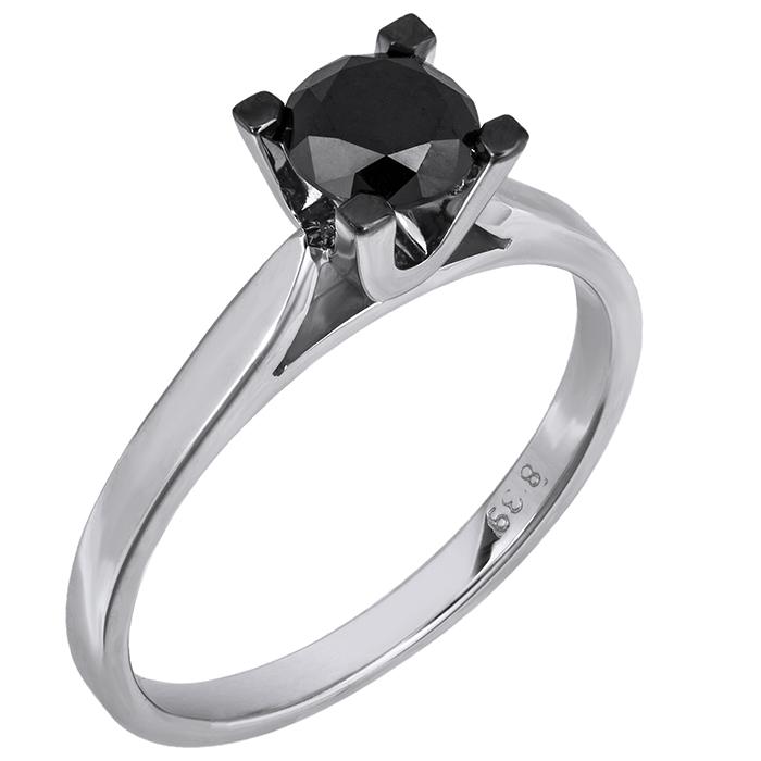 Λευκόχρυσο μονόπετρο με μαύρο διαμάντι Κ18 026224 026224 Χρυσός 18 Καράτια