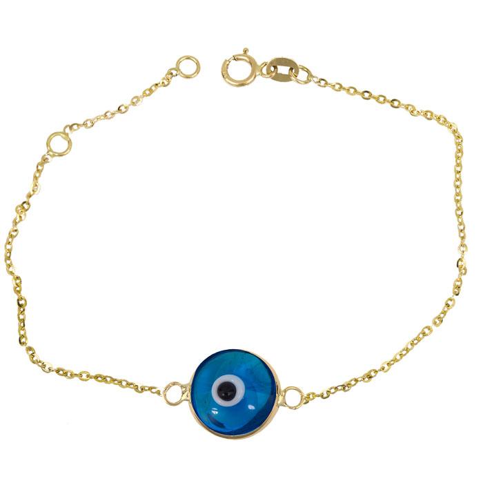 Γυναικείο βραχιόλι με μπλε μάτι Κ14 026227 026227 Χρυσός 14 Καράτια