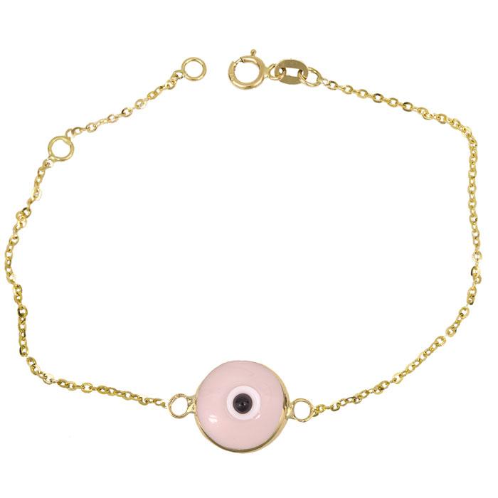 Χρυσό βραχιόλι με ροζ μάτι Κ14 026229 026229 Χρυσός 14 Καράτια