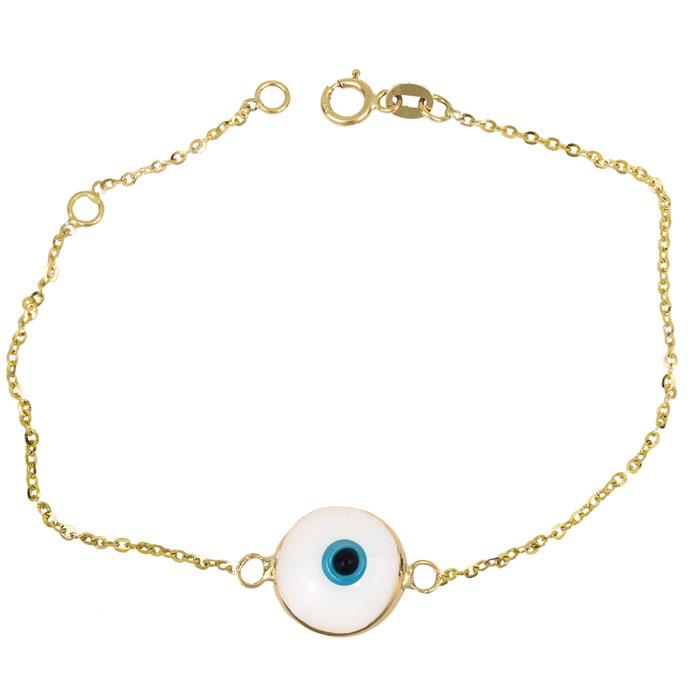Γυναικείο βραχιόλι με άσπρο μάτι Κ14 026230 026230 Χρυσός 14 Καράτια