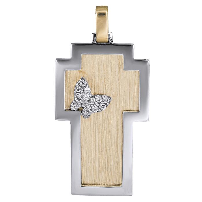 Σταυροί Βάπτισης - Αρραβώνα Δίχρωμος γυναικείος σταυρός Κ14 με πεταλούδα 026313 026313 Γυναικείο Χρυσός 14 Καράτια