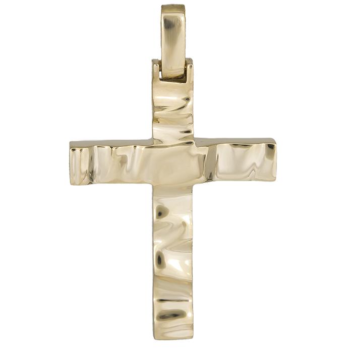 Σταυροί Βάπτισης - Αρραβώνα Χρυσός αντρικός σταυρός Κ14 με ανάγλυφο 026315 026315 Ανδρικό Χρυσός 14 Καράτια