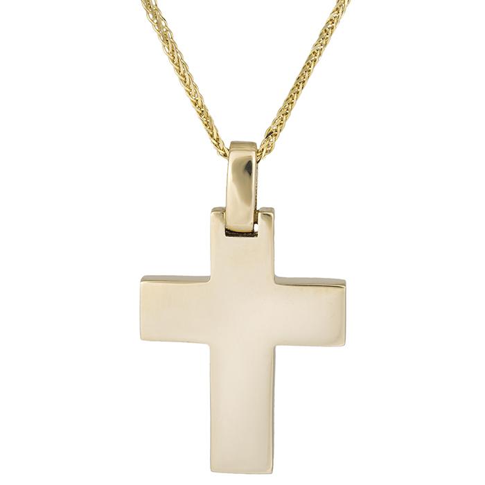 Βαπτιστικοί Σταυροί με Αλυσίδα Αντρικός σταυρός Κ14 με αλυσίδα 026317C 026317C Ανδρικό Χρυσός 14 Καράτια