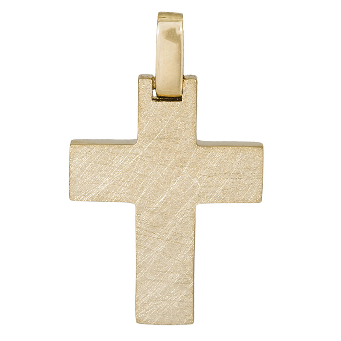 Σταυροί Βάπτισης - Αρραβώνα Χρυσός αντρικός σταυρός Κ14 με ματ ανάγλυφο 026318 026318 Ανδρικό Χρυσός 14 Καράτια