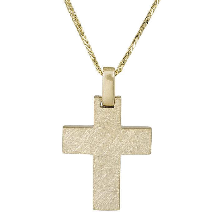 Βαπτιστικοί Σταυροί με Αλυσίδα Αντρικός σταυρός Κ14 ματ ανάγλυφο με αλυσίδα 026318C 026318C Ανδρικό Χρυσός 14 Καράτια