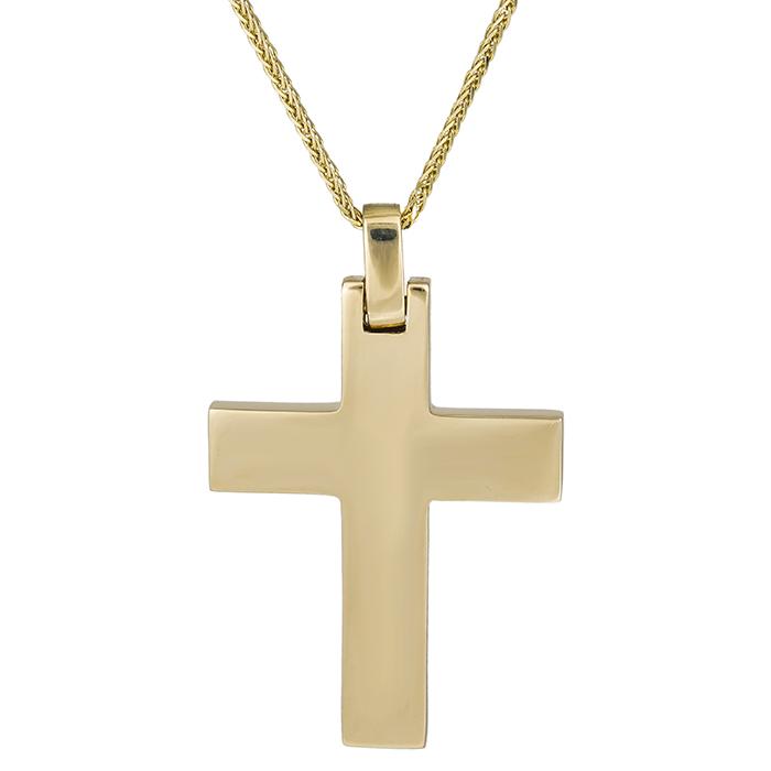 Βαπτιστικοί Σταυροί με Αλυσίδα Αντρικός σταυρός Κ14 λουστρέ με αλυσίδα 026319C 026319C Ανδρικό Χρυσός 14 Καράτια