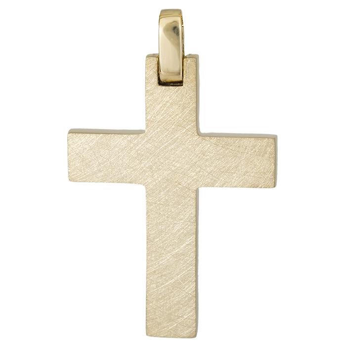 Σταυροί Βάπτισης - Αρραβώνα Χρυσός σταυρός Κ14 με ματ φινίρισμα 026320 026320 Ανδρικό Χρυσός 14 Καράτια