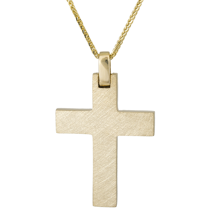 Βαπτιστικοί Σταυροί με Αλυσίδα Βαπτιστικός σταυρός Κ14 ματ ανάγλυφο με αλυσίδα 026320C 026320C Ανδρικό Χρυσός 14 Καράτια