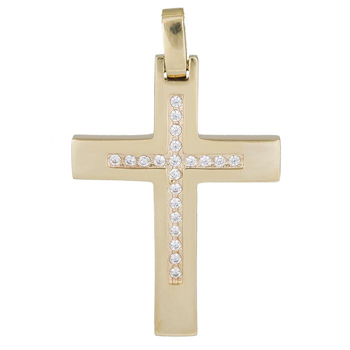 Σταυροί Βάπτισης - Αρραβώνα Χρυσός γυναικείος σταυρός Κ14 με ζιργκόν 026321 026321 Γυναικείο Χρυσός 14 Καράτια