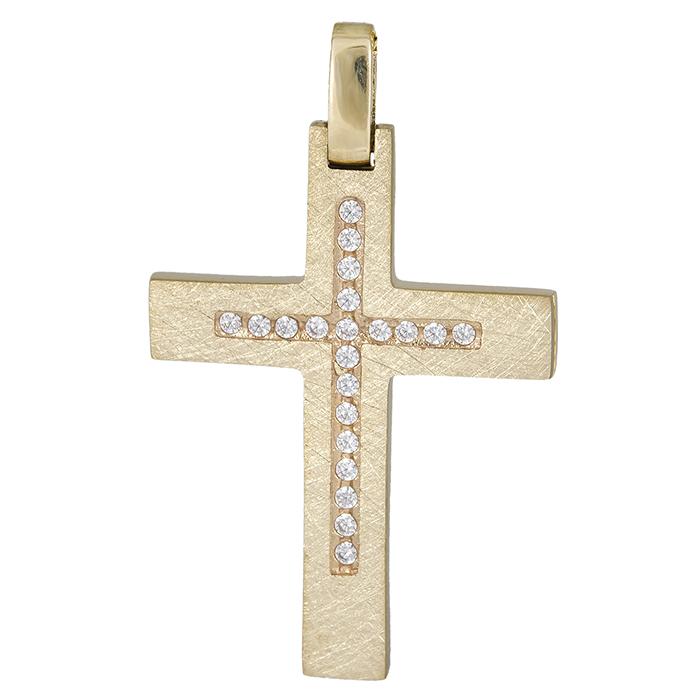Σταυροί Βάπτισης - Αρραβώνα Γυναικείος σταυρός ματ Κ14 με ζιργκόν 026322 026322 Γυναικείο Χρυσός 14 Καράτια