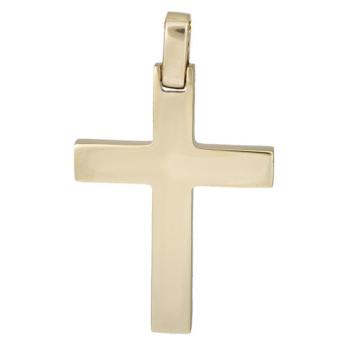 Σταυροί Βάπτισης - Αρραβώνα Χρυσός σταυρός Κ14 λουστρέ 026323 026323 Ανδρικό Χρυσός 14 Καράτια