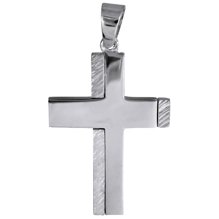 Σταυροί Βάπτισης - Αρραβώνα Λευκόχρυσος αντρικός σταυρός Κ14 026326 026326 Ανδρικό Χρυσός 14 Καράτια