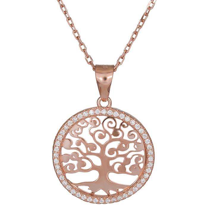 Ροζ επίχρυσο κολιέ δέντρο της ζωής 026350 026350 Ασήμι
