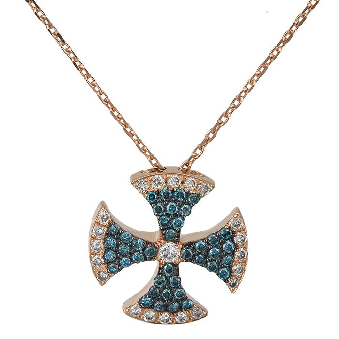 Σταυρός με μπλε και λευκά διαμάντια Κ18 026371 026371 Χρυσός 18 Καράτια χρυσά κοσμήματα σταυροί