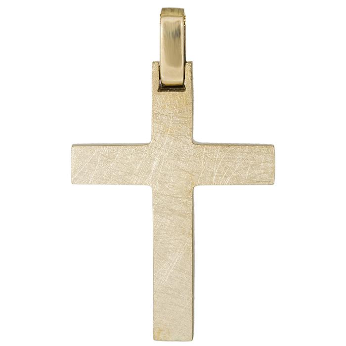 Σταυροί Βάπτισης - Αρραβώνα Χρυσός σταυρός ματ Κ14 026381 026381 Ανδρικό Χρυσός 14 Καράτια