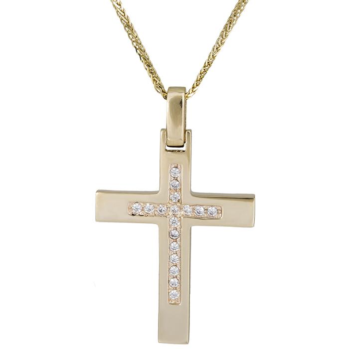 Βαπτιστικοί Σταυροί με Αλυσίδα Χρυσός γυναικείος σταυρός Κ14 με αλυσίδα 026382C 026382C Γυναικείο Χρυσός 14 Καράτια