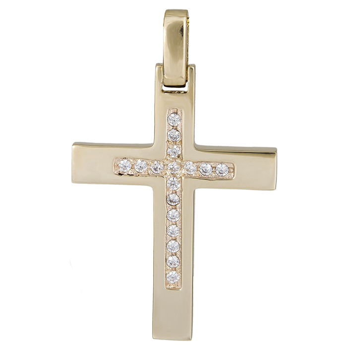 Σταυροί Βάπτισης - Αρραβώνα Χρυσός γυναικείος σταυρός Κ14 με ζιργκόν 026382 026382 Γυναικείο Χρυσός 14 Καράτια