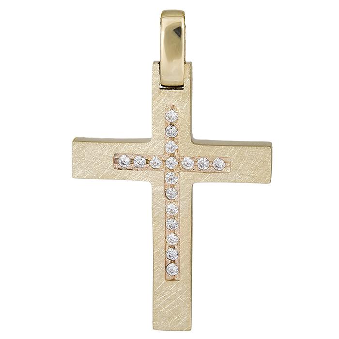 Σταυροί Βάπτισης - Αρραβώνα Χρυσός γυναικείος σταυρός ματ Κ14 με ζιργκόν 026383 026383 Γυναικείο Χρυσός 14 Καράτια