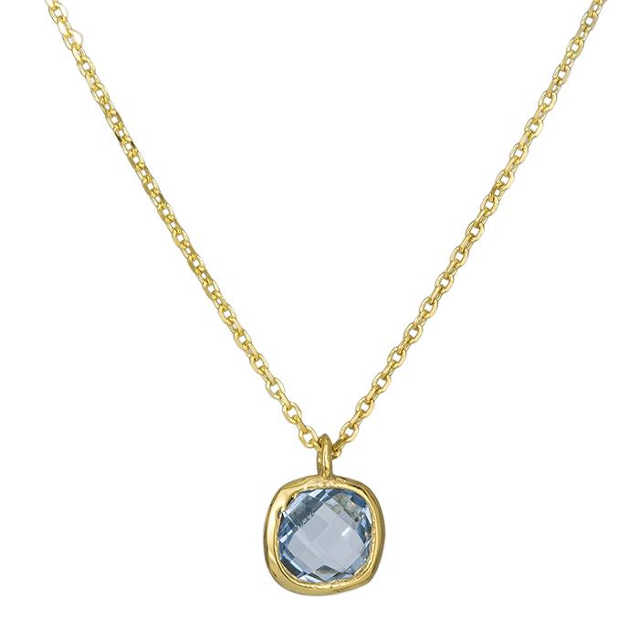 Γυναικείο κολιέ Κ14 μπλε πέτρα 026389 026389 Χρυσός 14 Καράτια