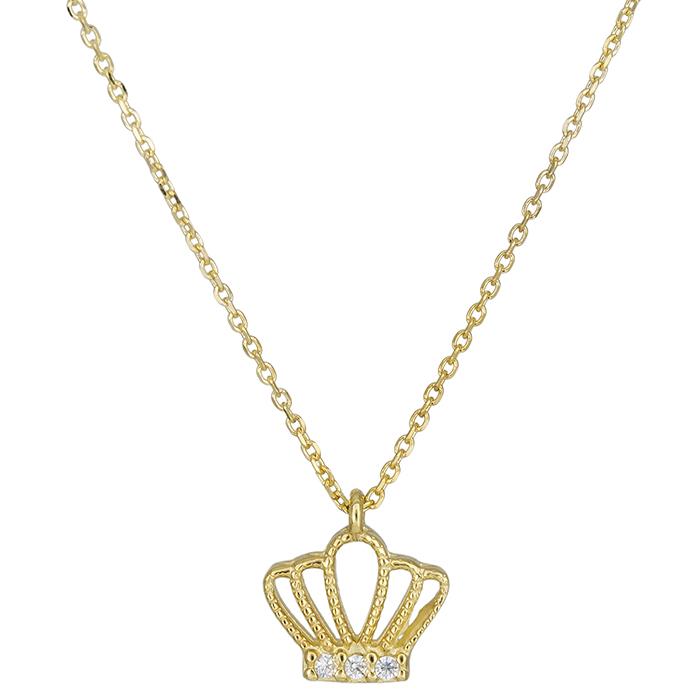 Κολιέ κορώνα χρυσό Κ14 με ζιργκόν 026392 026392 Χρυσός 14 Καράτια