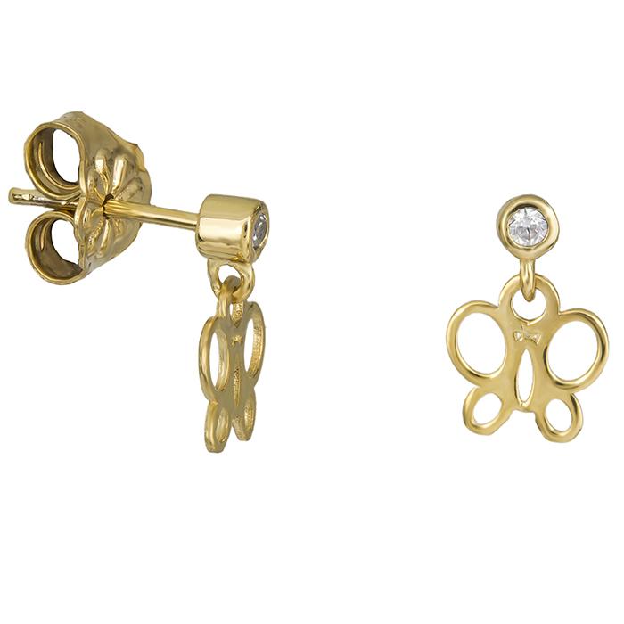 Παιδικά σκουλαρίκια πεταλούδα Κ14 με πέτρα 026395 026395 Χρυσός 14 Καράτια